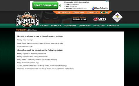Screenshot of Hours Page jolietslammers.com - Contact Us - Office Hours - Official Site of the Joliet Slammers - captured Oct. 16, 2017