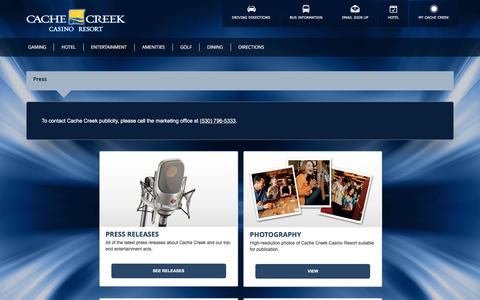 Screenshot of Press Page cachecreek.com - Cache Creek Casino Resort - captured Oct. 11, 2016