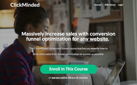 Screenshot of clickminded.com - Funnel Training Course For Startups - ClickMinded - captured Dec. 9, 2017