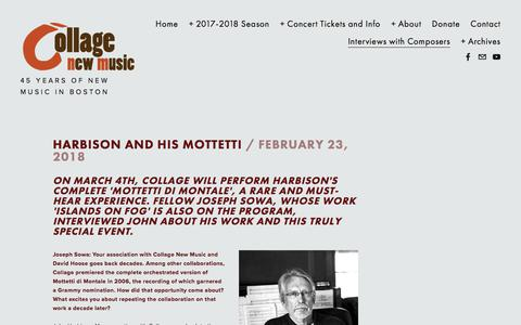 Screenshot of Blog collagenewmusic.org - Interviews with Composers — Collage New Music - captured July 20, 2018