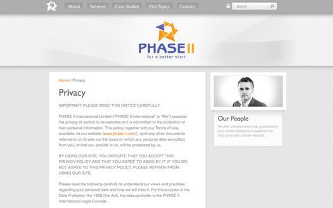 Screenshot of Privacy Page phase-ii.com - PHASE II - The full service medical marketing specialists - Privacy - captured Sept. 29, 2014
