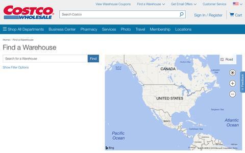 Screenshot of Locations Page costco.com - Find a Costco warehouse- Costco - captured Nov. 3, 2016