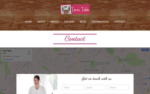 Screenshot of Contact Page tarastable.co.uk - Contact Us - Talk to Tara's Table about your event - captured Sept. 21, 2018