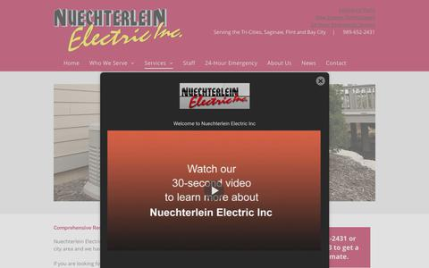 Screenshot of Services Page nelectric.com - Residential Installation Services | Generator Installation Frankenmuth - captured Oct. 18, 2018