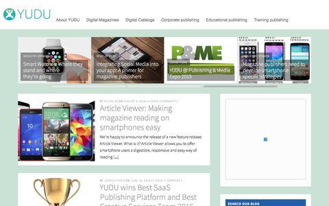 Screenshot of Blog yudu.com - The YUDU Blog – A range of opinion on publishing and tech industry news - captured Aug. 19, 2016