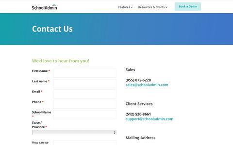 Screenshot of Contact Page schooladmin.com - Contact SchoolAdmin   Admissions & Enrollment Management - captured Oct. 29, 2019