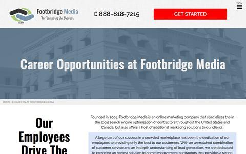 Screenshot of Jobs Page footbridgemedia.com - Careers at Footbridge Media - Footbridge Media - captured May 23, 2018
