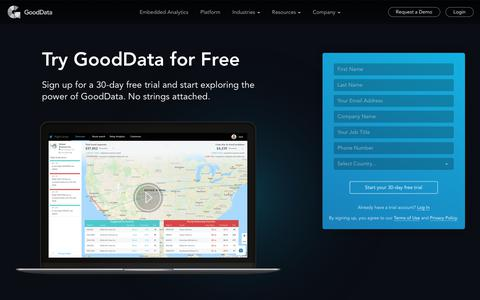 Screenshot of Trial Page gooddata.com - Try GoodData for Free - captured Dec. 18, 2018