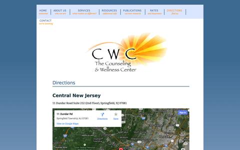 Screenshot of Maps & Directions Page thecwcnj.com - Welcome to the Counseling and Wellness Center - captured Oct. 26, 2014
