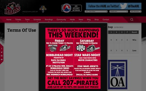 Screenshot of Terms Page portlandpirates.com - Terms Of Use Ľ Portland Pirates - captured Dec. 9, 2015