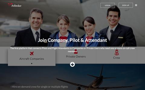 Screenshot of Home Page avibroker.com - Find Ferry Pilots, Freelance Pilots and Flight Attendants - Freelance Aircrew | Avibroker - captured May 31, 2017