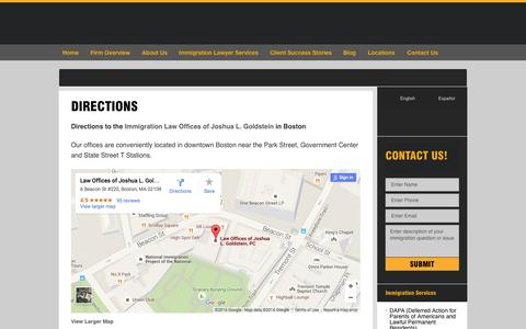 Screenshot of Maps & Directions Page jgoldlaw.com - Directions | Law Offices of Joshua L. Goldstein, P.C. - captured Jan. 26, 2016