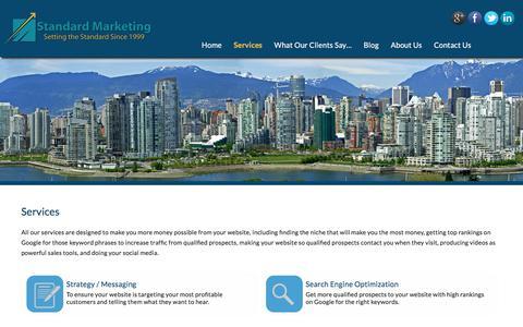 Screenshot of Services Page standardmarketing.com - Web marketing services - Standard Marketing Vancouver, BC - captured Oct. 31, 2017