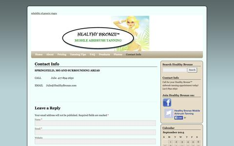 Screenshot of Contact Page healthybronze.com - Contact Info | Healthy Bronze - captured Sept. 29, 2014