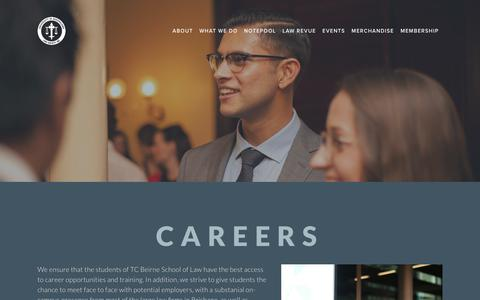 Screenshot of Jobs Page uqls.com - Careers — The University of Queensland Law Society Inc. - captured Oct. 18, 2018
