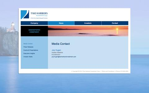 Screenshot of Press Page twoharborsinvestment.com - Media Contact | Two Harbors Investment Corp. - captured Oct. 7, 2014