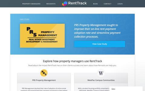 Screenshot of Case Studies Page renttrack.com - Online Rent Payments Case Studies | RentTrack - captured June 13, 2017
