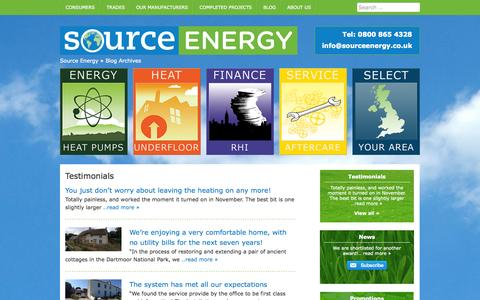 Screenshot of Testimonials Page sourceenergy.co.uk - Testimonials Archive - Source Energy - captured Oct. 7, 2014