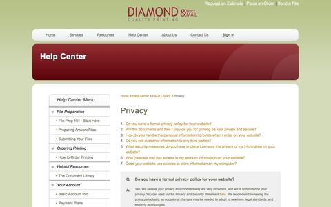 Screenshot of Privacy Page diamondqualityprinting.com - Diamond Quality Printing & Direct Mail: Help Center - captured Feb. 9, 2016
