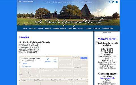 Screenshot of Maps & Directions Page stpauls-shreveport.org - St. Paul's Episcopal Church  ::  Directions - captured June 14, 2016