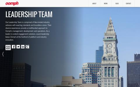 Screenshot of Team Page oomphinc.com - Leadership | Digital Content Engagement Services | Oomph - captured Oct. 26, 2014