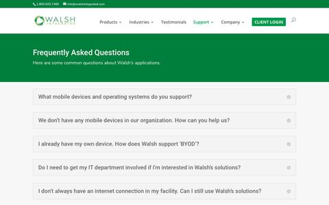 Screenshot of FAQ Page walshintegrated.com - FAQ | Walsh Integrated - captured Oct. 20, 2018