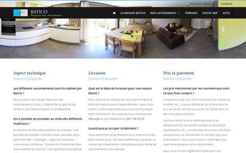 Screenshot of FAQ Page batico.be - Questions et réponses concernant nos maisons à vendre – BATICO - captured Oct. 10, 2017