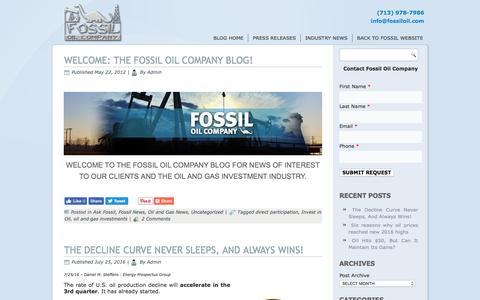 Screenshot of Blog Press Page fossiloil.com - Welcome To The Fossil Oil Company Blog - Fossil Oil Company, LLC. - captured Nov. 25, 2016