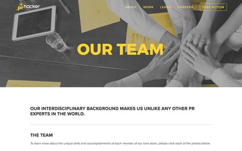 Screenshot of Team Page prhacker.com - Our Team — PR HACKER - captured May 12, 2017