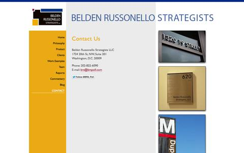 Screenshot of Contact Page brspoll.com - Contact Belden Russonello Strategists: Public Opinion Research and Strategic Communications - captured Oct. 5, 2014