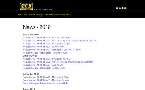 Screenshot of Press Page ecs-electronics.nl - Newsletter archive - captured Dec. 7, 2018