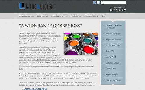 """Screenshot of Support Page ltlitho.net - LT Litho & Digital : Customer Service : """"A WIDE RANGE OF SERVICES"""" - captured Oct. 1, 2014"""