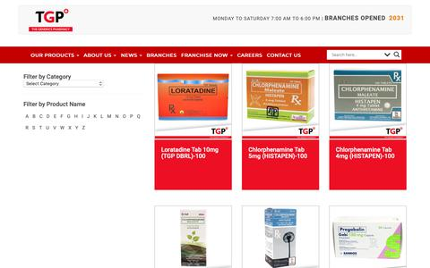 Screenshot of Products Page tgp.com.ph - Products | Drugstore Philippines - The Generics Pharmacy - captured Nov. 19, 2018