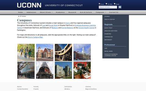 Screenshot of Maps & Directions Page uconn.edu - Campuses | University of Connecticut - captured July 20, 2014