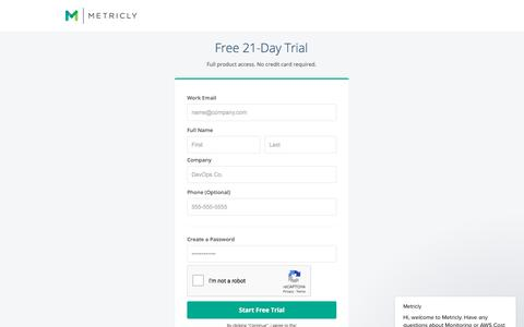 Screenshot of Signup Page metricly.com - Metricly says… - captured Sept. 19, 2018