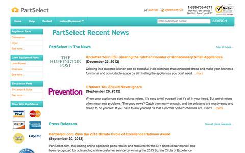 Screenshot of Press Page partselect.com - PartSelect Recent News - captured June 21, 2017