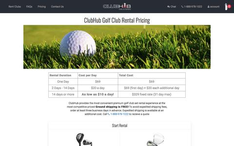 Screenshot of Pricing Page clubhub.com - Golf Club Rental Pricing | ClubHub - captured Aug. 3, 2017