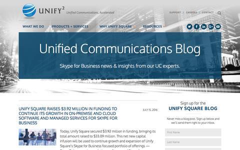 Screenshot of Blog unifysquare.com - Unify Communications Blog | Unify Square - captured Aug. 11, 2016