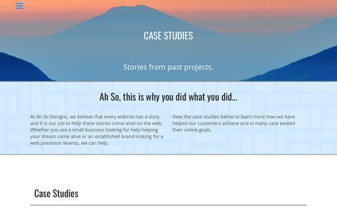 Screenshot of Case Studies Page ahsodesigns.com - Web Development Case Studies - captured May 29, 2017