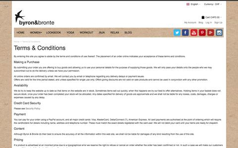 Screenshot of Terms Page byronandbronte.com - Terms & Conditions - captured Oct. 5, 2014