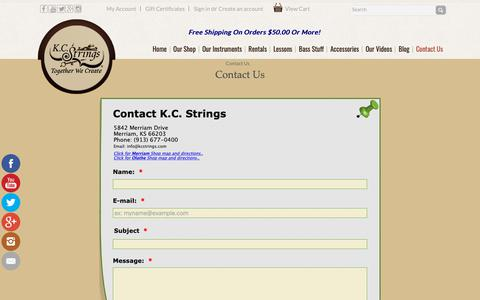 Screenshot of Contact Page kcstrings.com - Contact Us - K.C. Strings - captured Oct. 14, 2018