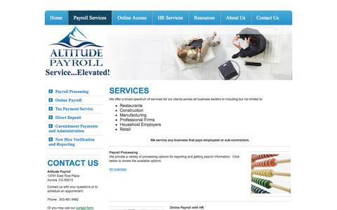 Screenshot of Services Page altitudepayroll.com - Payroll Services - Altitude Payroll - captured Oct. 4, 2014