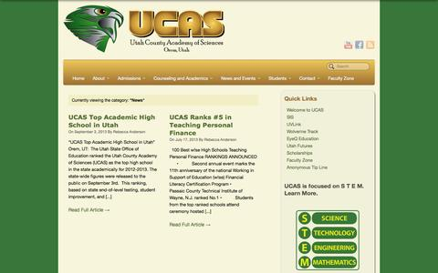 Screenshot of Press Page ucas-edu.net - News Archives - UCAS - captured Oct. 26, 2014