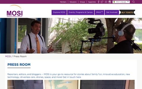 Screenshot of Press Page mosi.org - Press Room - Museum of Science and Industry - captured May 26, 2017