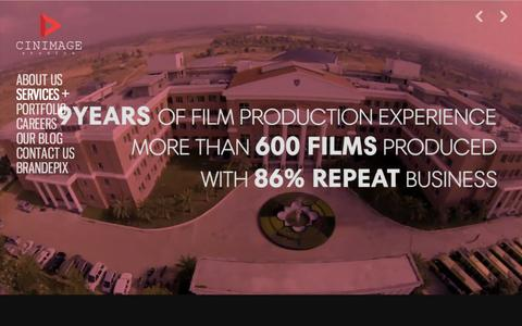 Screenshot of Home Page cinimage.org - Corporate Video Production House in Bangalore, Corporate Film Makers in Bangalore, Hyderabad, Mumbai India - Cinimage Studios - captured Jan. 19, 2016