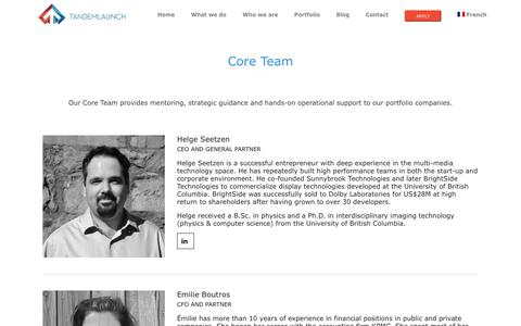 Screenshot of Team Page tandemlaunch.com - Our Team - TandemLaunch - captured Oct. 18, 2018
