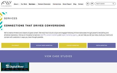 Screenshot of Services Page fieldworksmarketing.co.uk - PR, Content Marketing & Digital Marketing Services | Fieldworks Marketing - captured Aug. 13, 2018