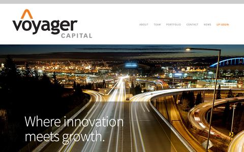 Screenshot of Home Page voyagercapital.com - Voyager Capital | Venture Funding in the Pacific Northwest - captured May 29, 2019