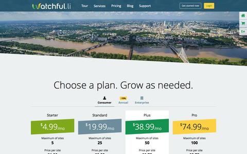 Screenshot of Pricing Page watchful.li - Choose a plan. Grow as needed. - captured Sept. 23, 2014