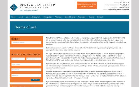 Screenshot of Terms Page montyramirezlaw.com - Terms of use - Monty & Ramirez LLP - captured Oct. 19, 2018